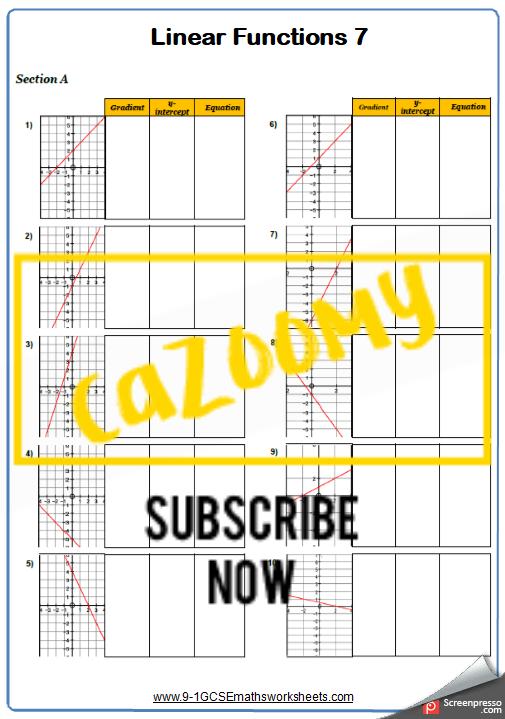Straight Line Graphs Worksheet 7