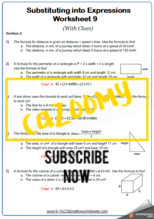 Substitution Worksheet 9
