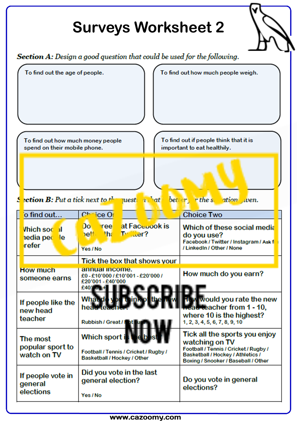 Surveys And Sampling Worksheet 2