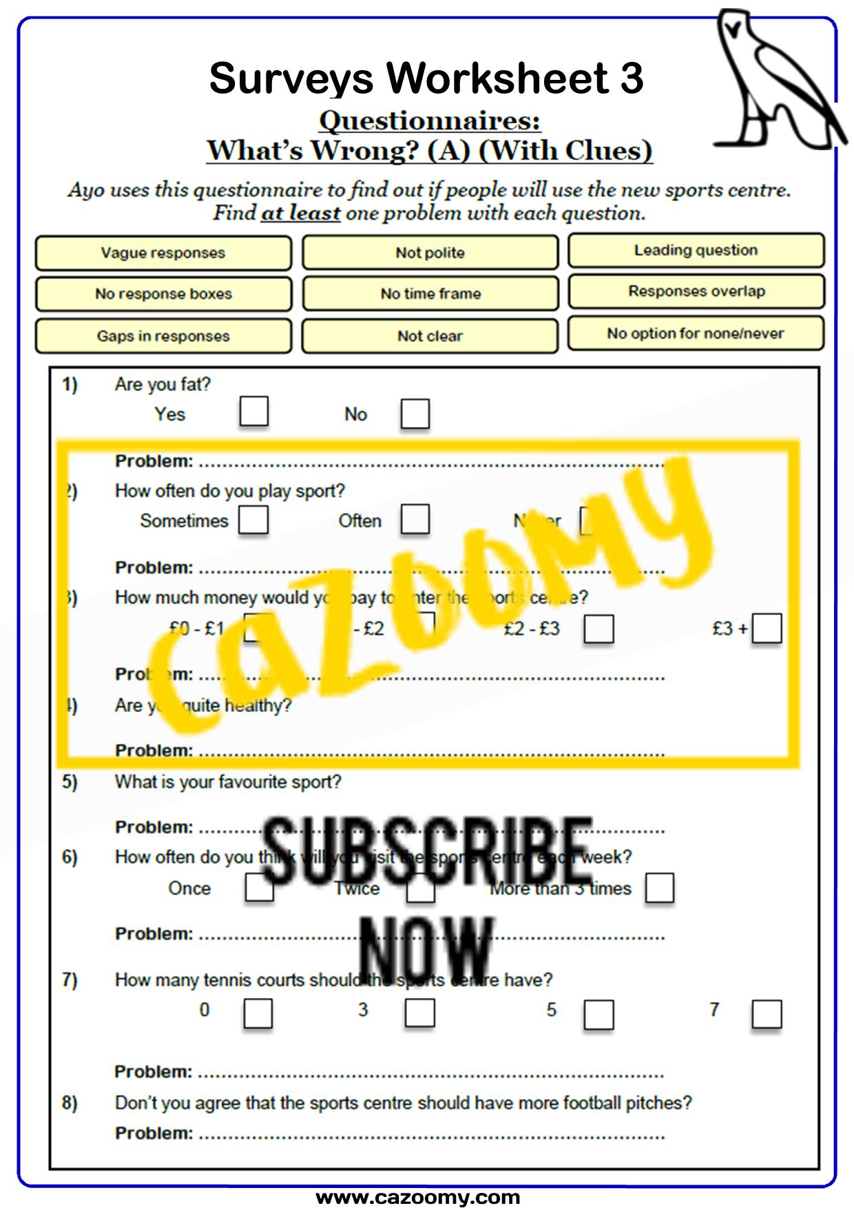 Surveys And Sampling Worksheet 3