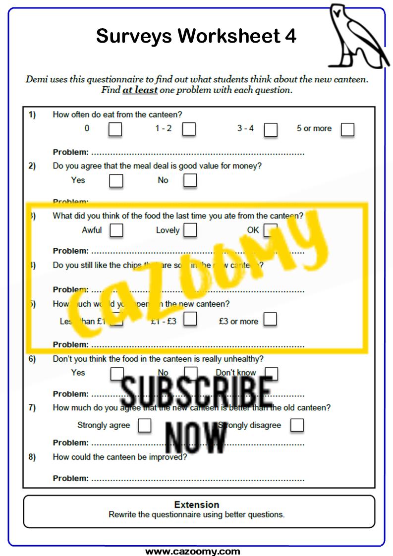 Surveys And Sampling Worksheet 4
