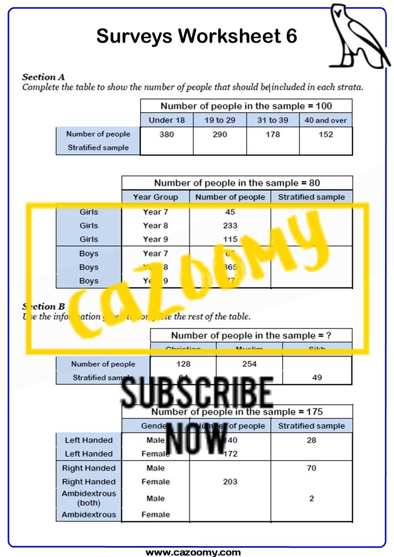 Surveys And Sampling Worksheet 6