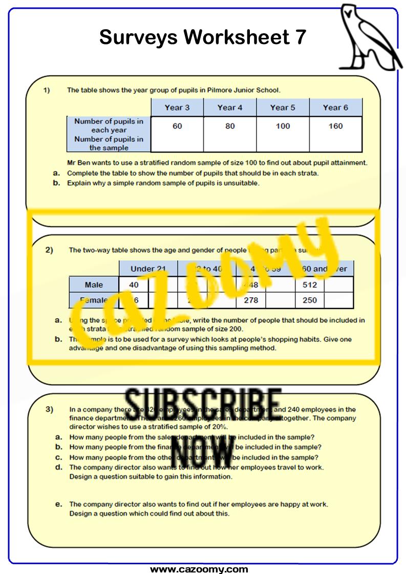 Surveys And Sampling Worksheet 7