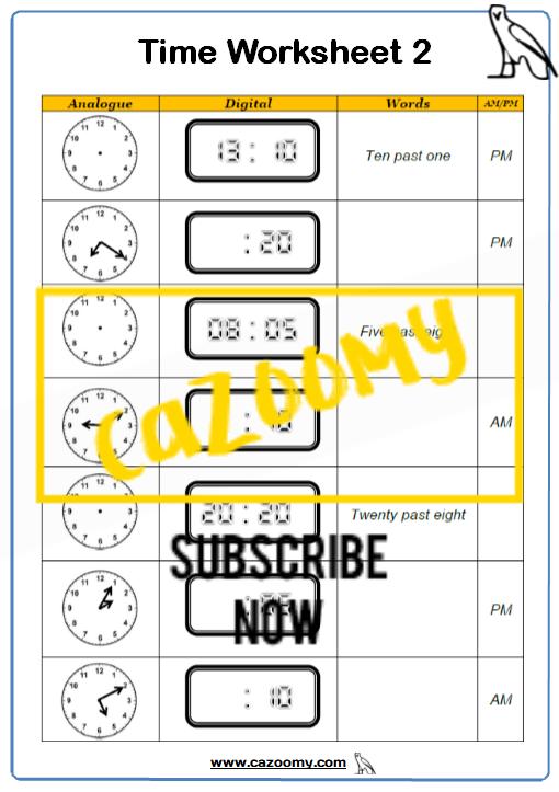 Time Worksheet 2