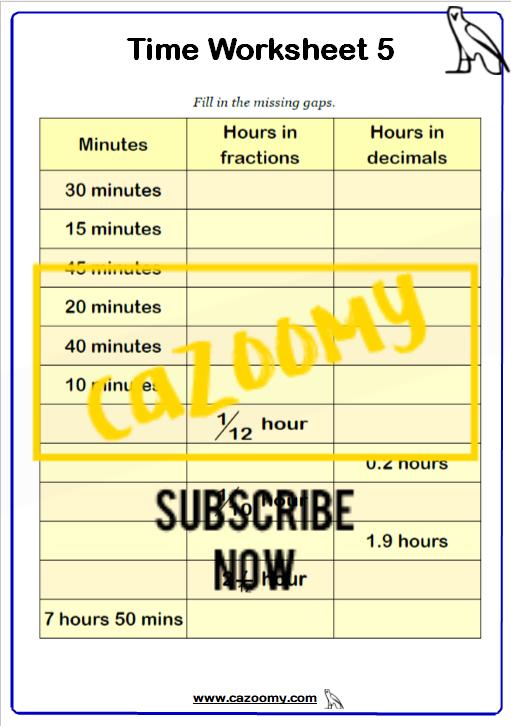 Time Worksheet 5