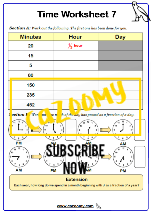 Time Worksheet 7