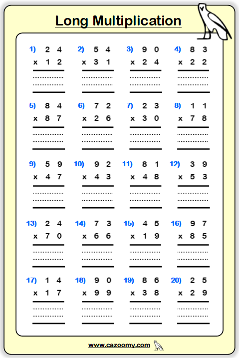 Multiplication Table Printable Worksheet 2