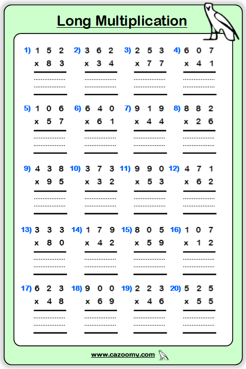 Multiplication Table Printable Worksheet 3