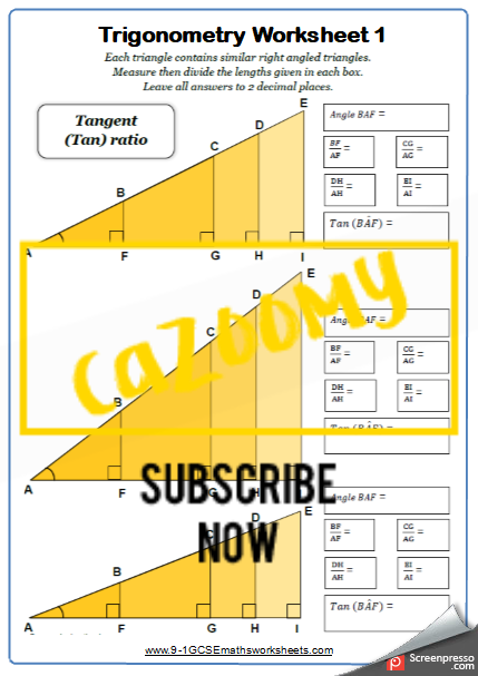 Trigonometry Worksheet 1