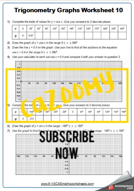 Trigonometry Worksheet 10