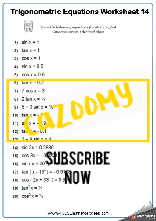 Trigonometry Worksheet 14