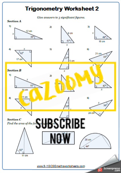 Trigonometry Worksheet 2