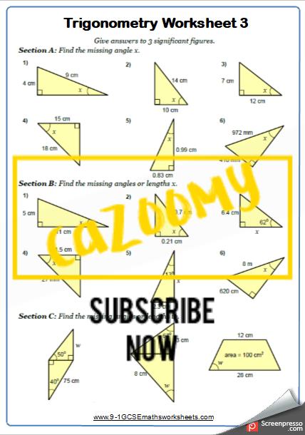 Trigonometry Worksheet 3