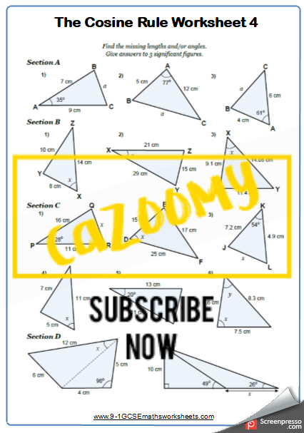 Trigonometry Worksheet 4
