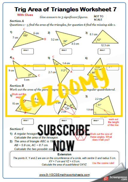 Trigonometry Worksheet 7