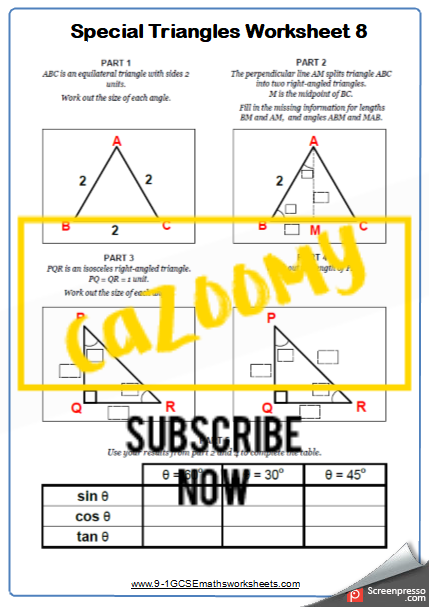 Trigonometry Worksheet 8