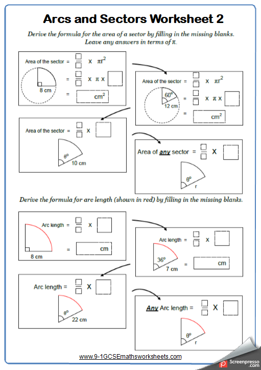 Arc Lengths Worksheets Cazoomy
