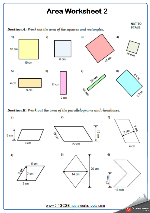 Area Of 2d Shapes Worksheets Cazoomy