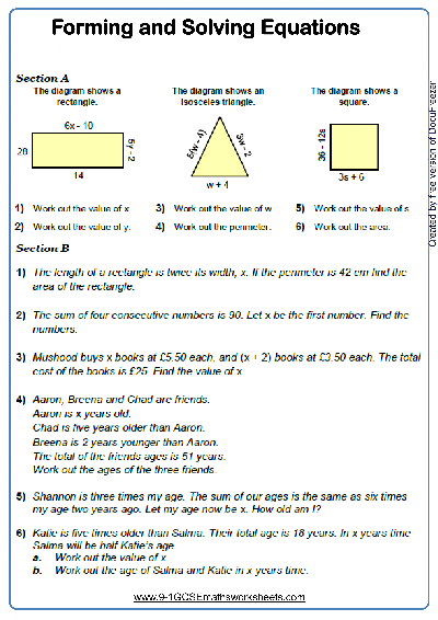 Forming Solving Equations Worksheets Cazoomy