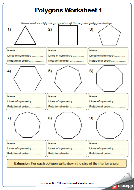 Polygons Maths Worksheets Cazoomy