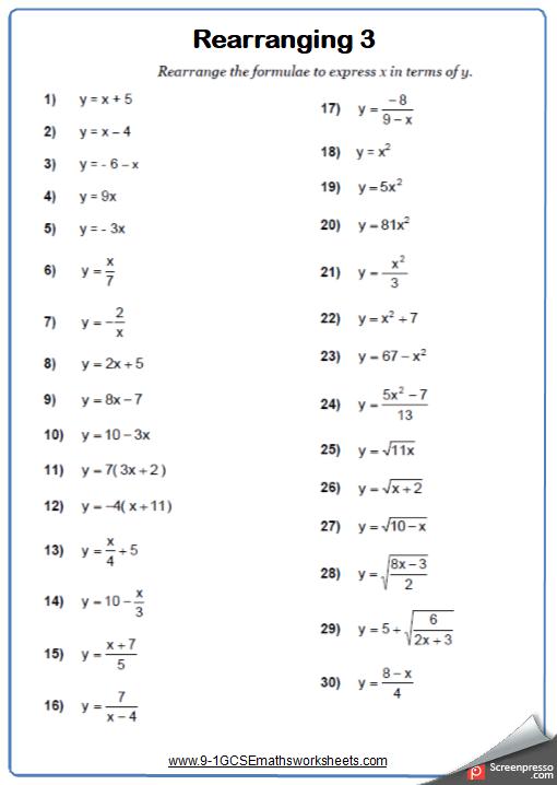 rearranging formulae worksheets  cazoomy rearranging cazoomy maths worksheet and answers
