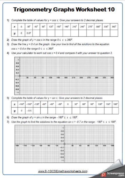 Trigonometry Cazoomy Maths Worksheet And Answers 10 Cazoomy