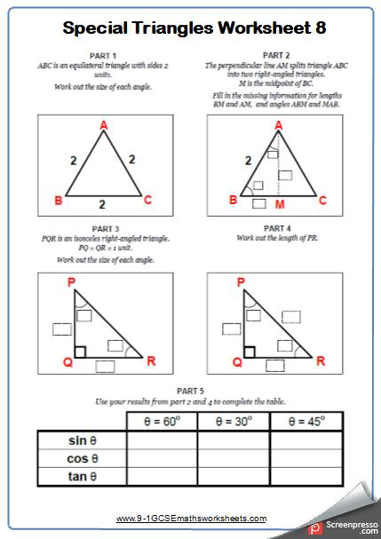 Trigonometry Cazoomy Maths Worksheet and Answers 8 – Cazoomy
