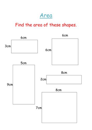 area worksheet starter