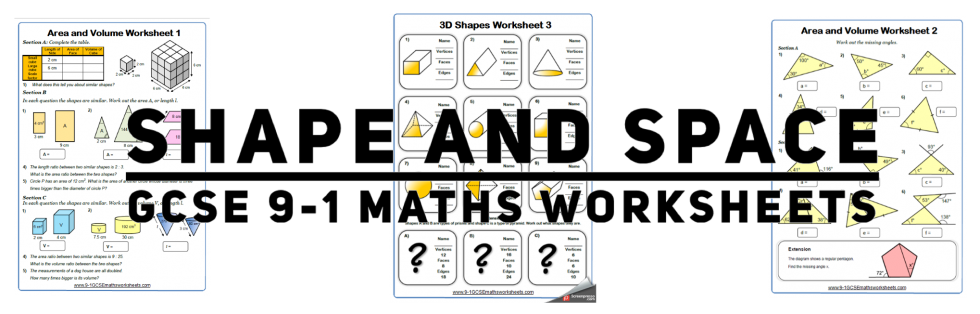 shape space 9-1 gcse maths worksheets