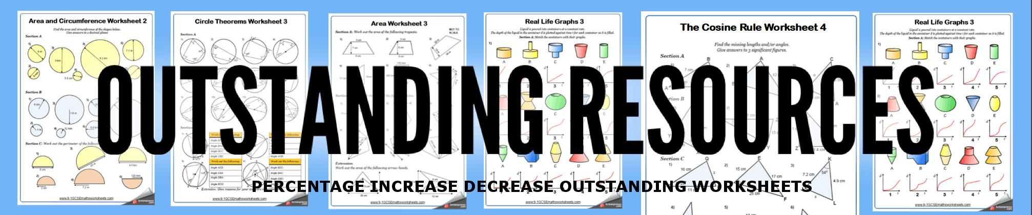 percentage increase decrease worksheets