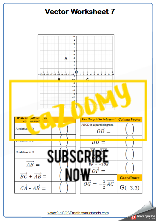 Vectors Worksheet 7