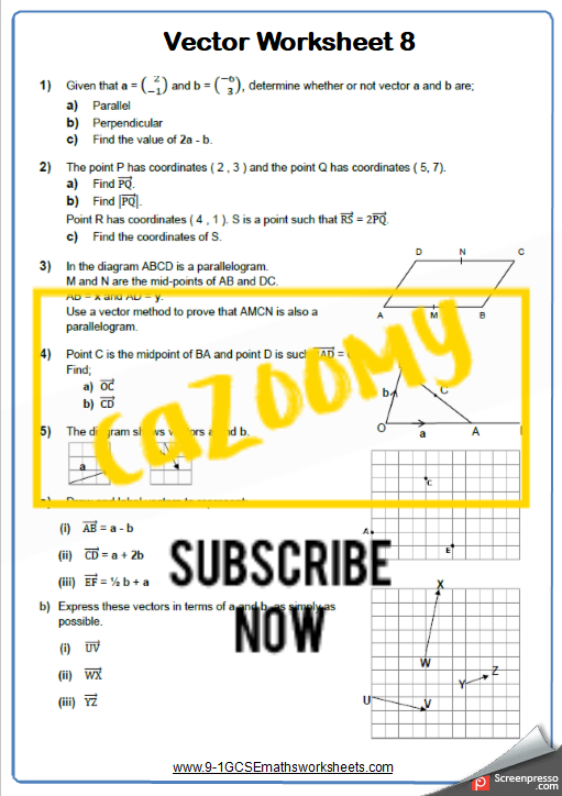 Vectors Worksheet 8